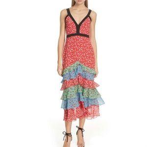 NWT Saloni Lana Silk Midi Dress